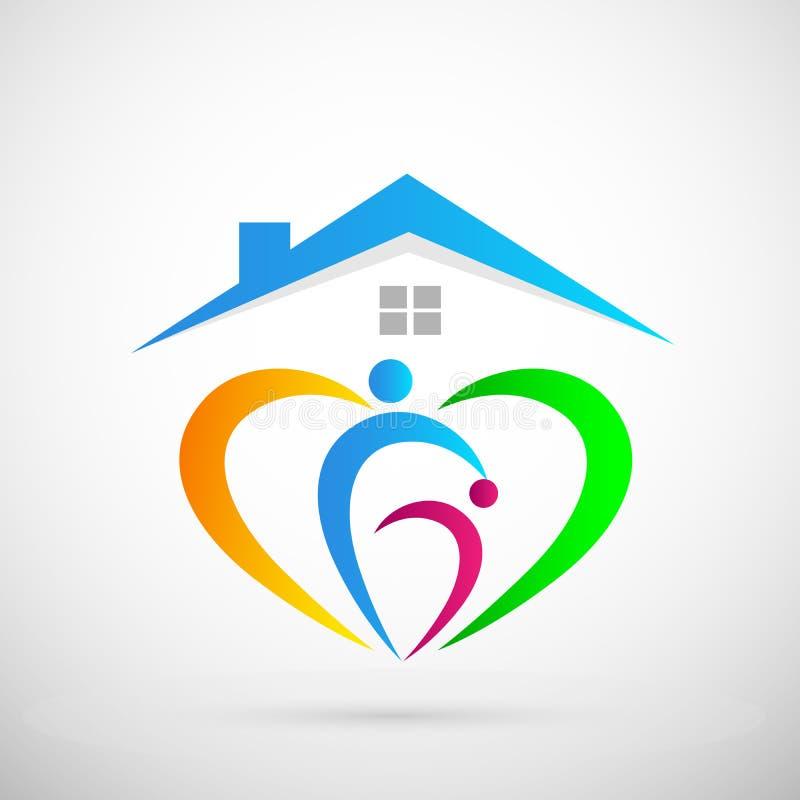 Family union love happy care home logo icon. In ai 10 illustrations stock illustration