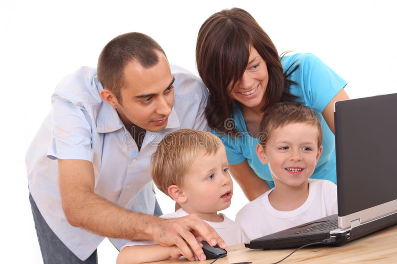 Download Family using laptop stock image. Image of computer, play - 3158787