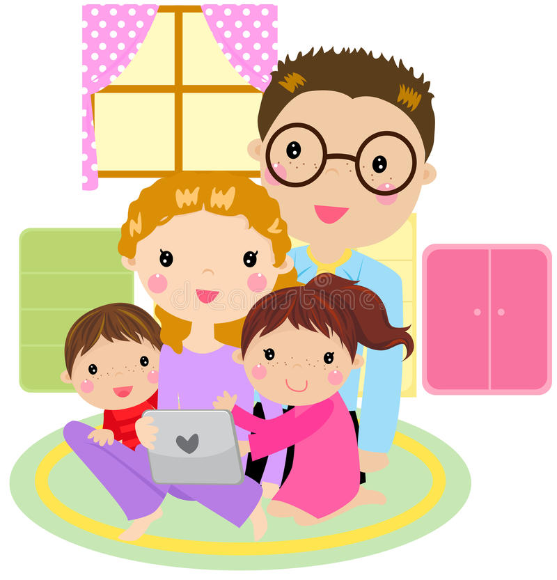 Download Family Using A Tablet Computer Stock Vector - Image: 27562198