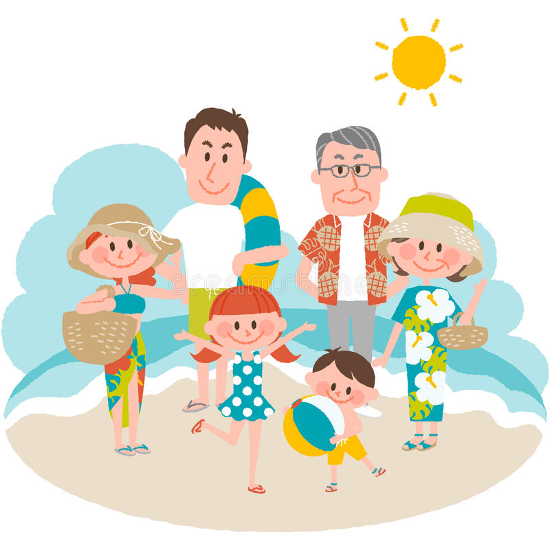 Download A Family Vacation On The Beachfront Stock Vector - Illustration of aloha, father: 90657588