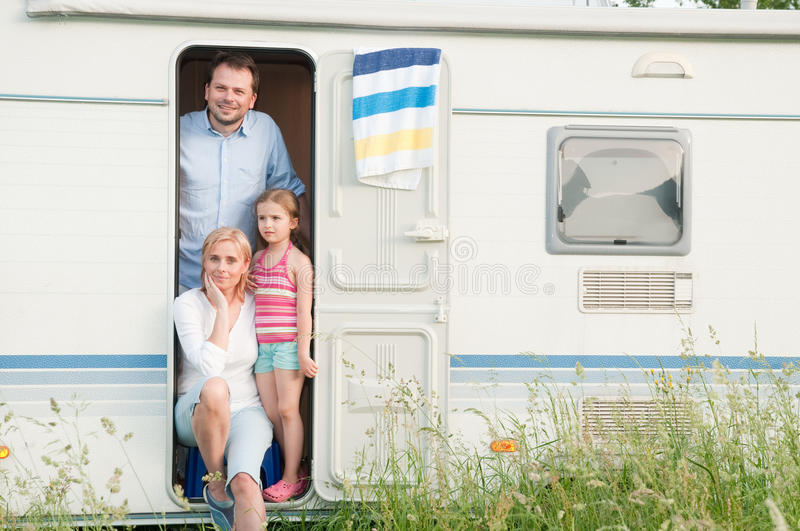 Family vacation in camper royalty free stock images