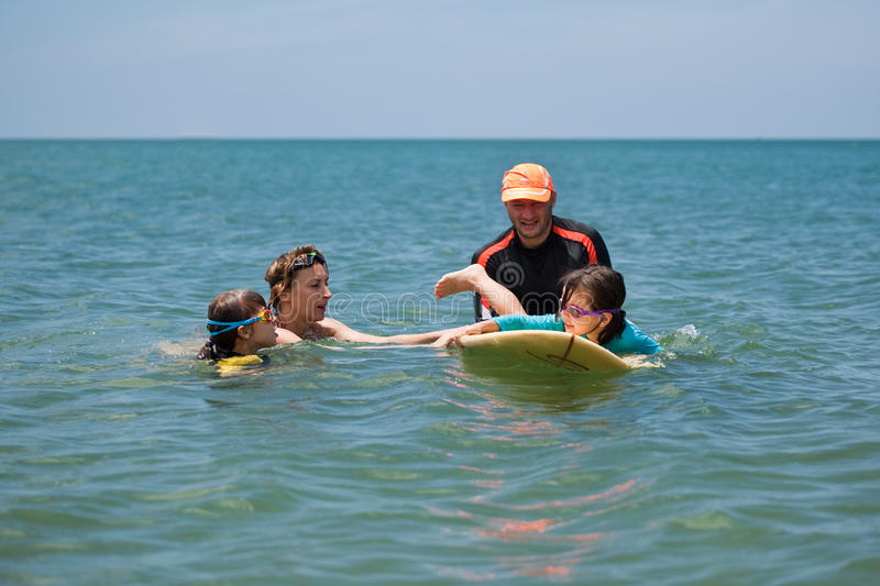 Family on vacation. Family Surfing. Summer holidays. The family on vacation. Family Surfing. Summer holidays stock images