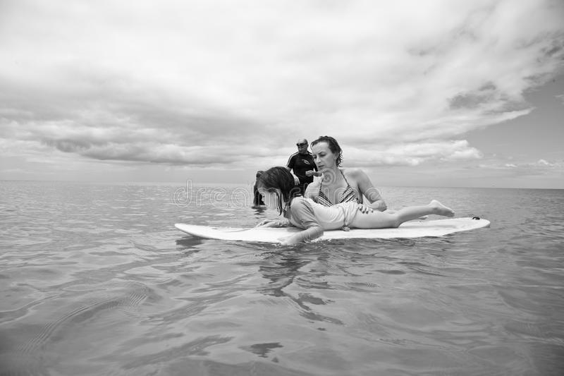 Family on vacation. Family Surfing. Summer holidays. The family on vacation. Family Surfing. Summer holidays royalty free stock image