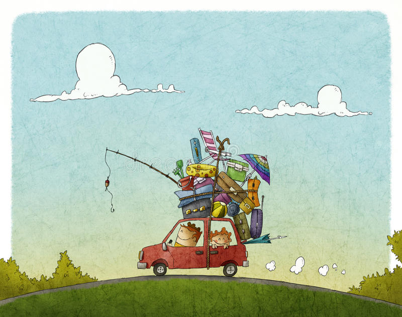 Family vacation. Funny illustration of Family vacation journey stock illustration
