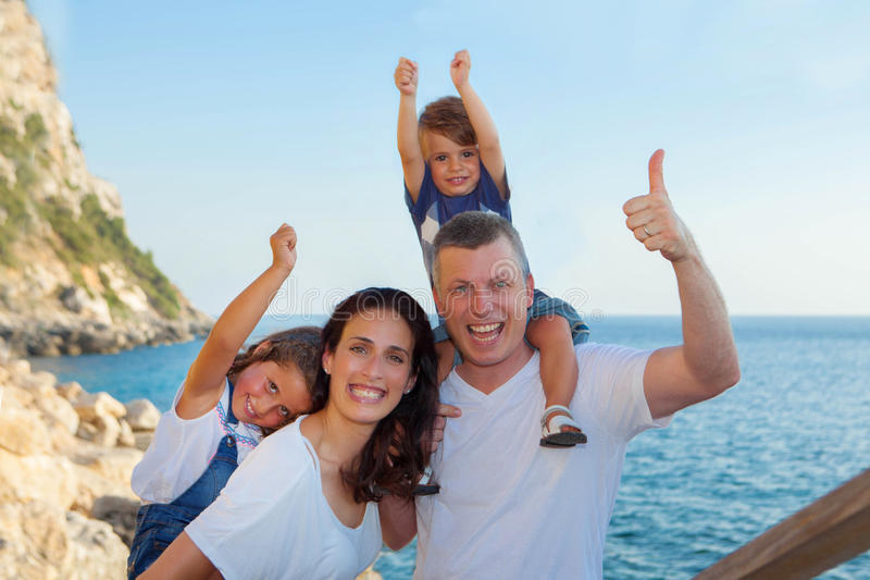 Family on vacation, mum dad and children. Family on summer vacation, mum dad and children stock photography