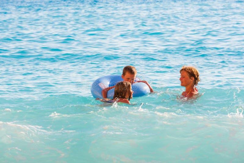 Family vacation on summer Ionian sea stock photos