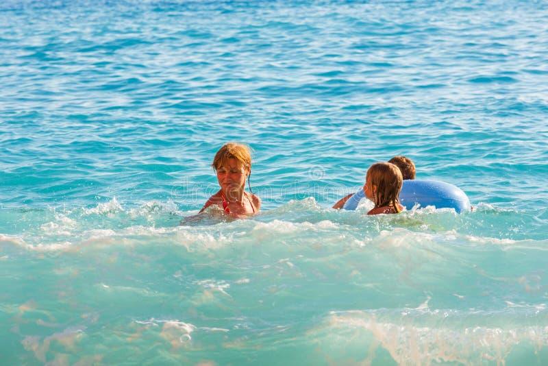 Family vacation on summer Ionian sea stock photo