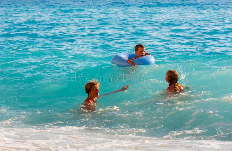 Family vacation on summer Ionian sea stock images