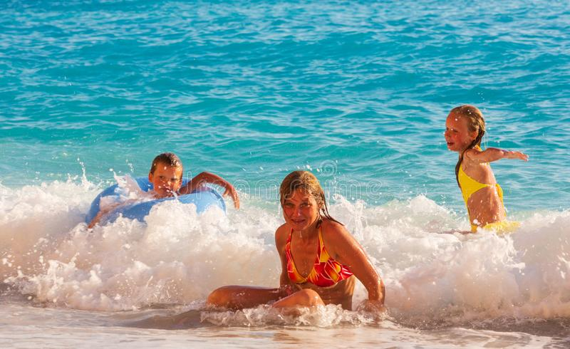 Family vacation on summer Ionian sea royalty free stock photography