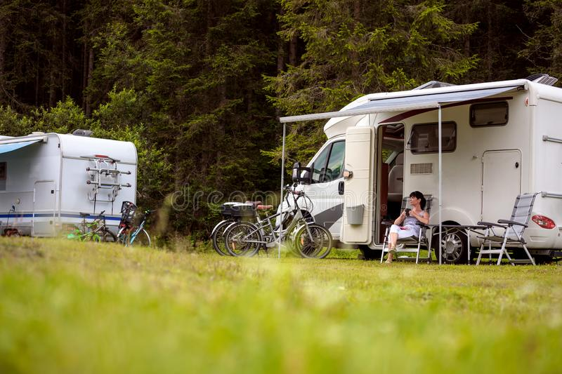 Family vacation travel, holiday trip in motorhome royalty free stock images