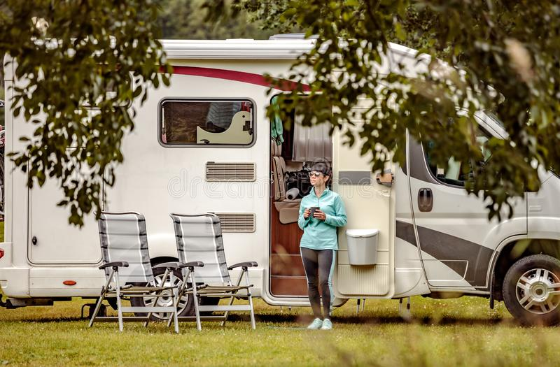 Family vacation travel RV, holiday trip in motorhome stock image