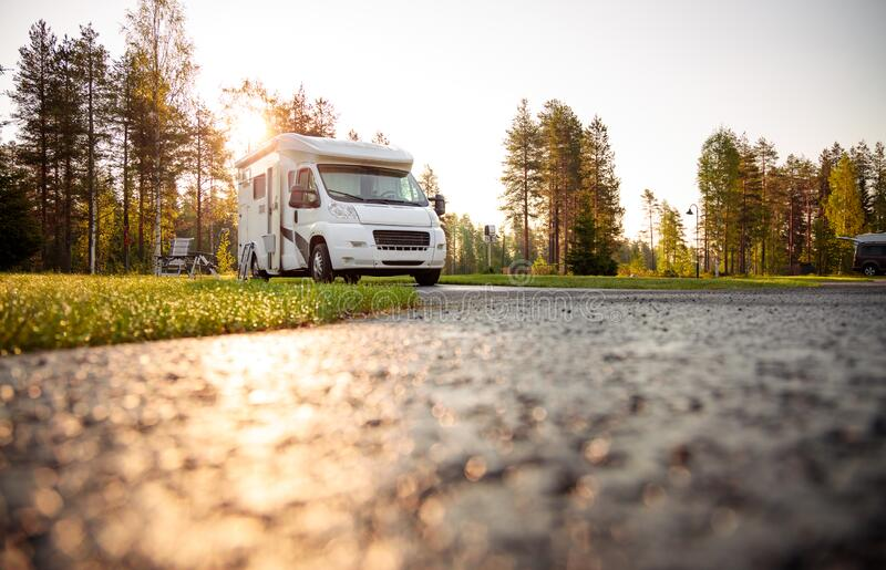 Family vacation travel RV, holiday trip in motorhome royalty free stock image