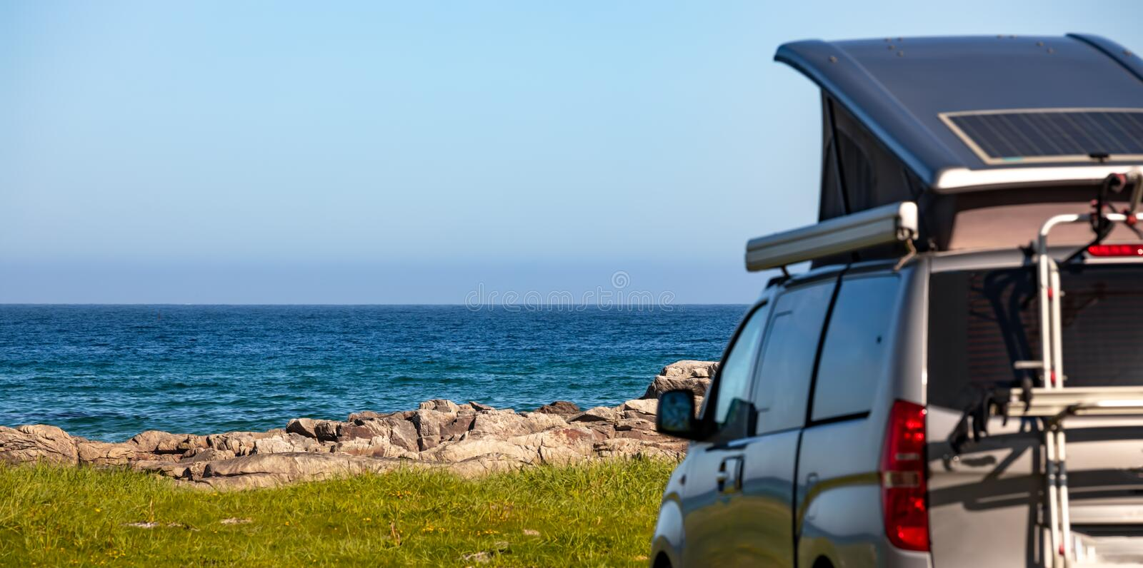 Family vacation travel RV, holiday trip in motorhome stock photography