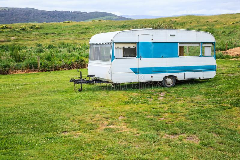 Family vacation trip, leisurely travel in motor home, Happy Holiday Vacation in Caravan camping car. Beautiful Nature New Zealand royalty free stock photography