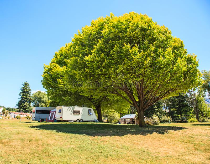 Family vacation trip, leisurely travel in motor home, Happy Holiday Vacation in Caravan camping car. Beautiful Nature New Zealand stock image