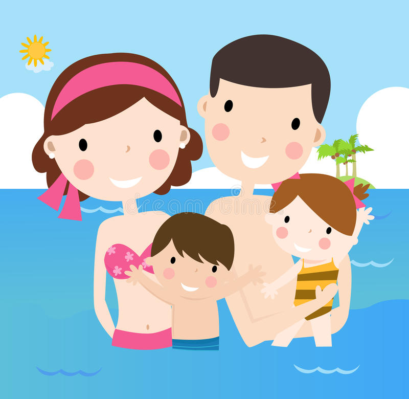 Family on vacations stock illustration