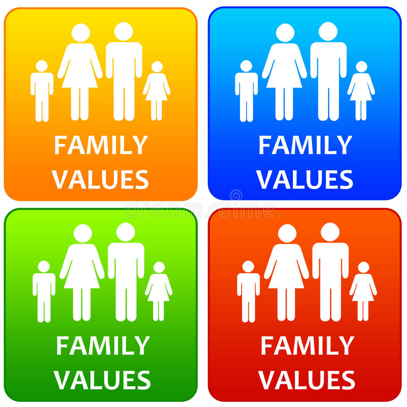 Family values. Colorful icons representing the importance of having decent family values stock illustration