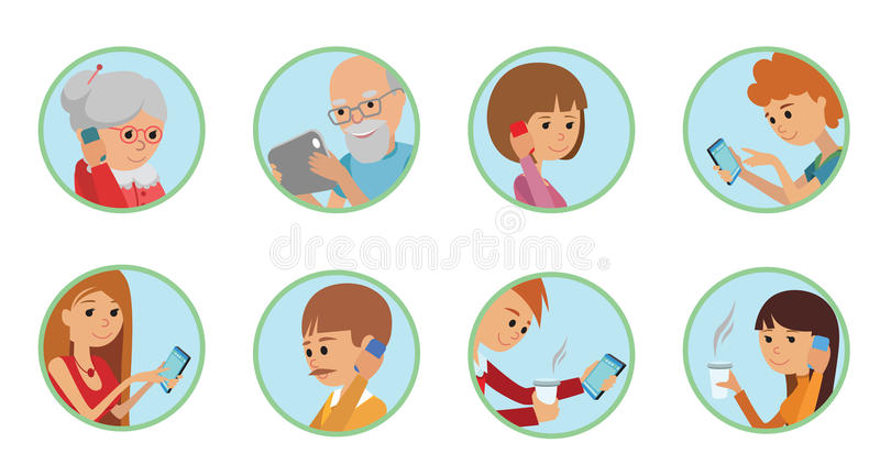 Family vector illustration flat style people faces online social media communications. Man woman parents grandparents with tablet. Phone round set white royalty free illustration