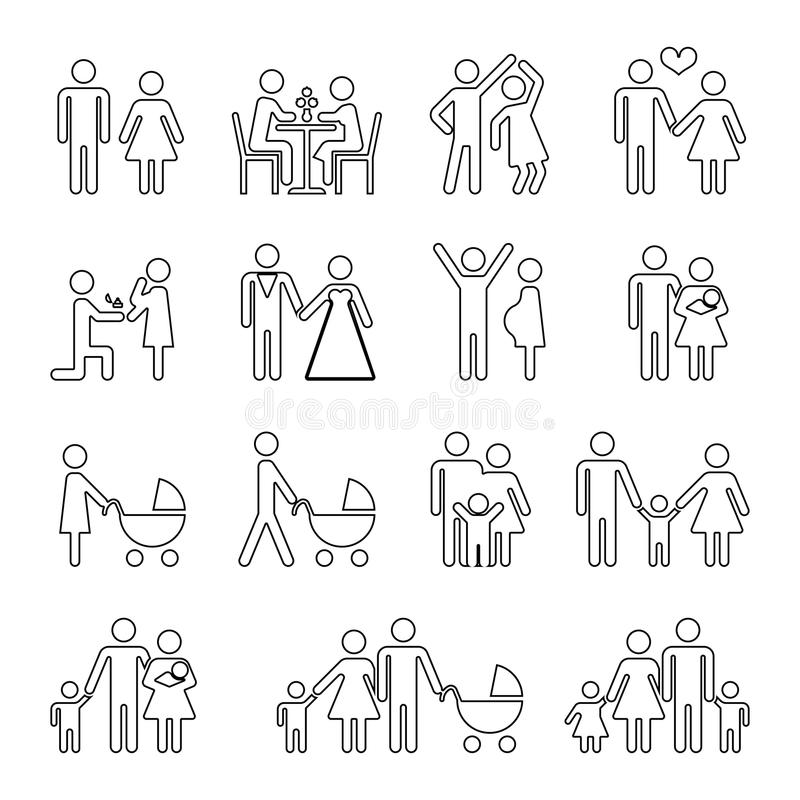 Family vector thin line icons set in black and white royalty free illustration