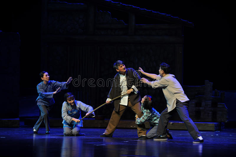 Family violence- Jiangxi opera a steelyard. Jiangxi opera a steelyard is adapted from a true story: the last century fortys, the protagonists father runs an oil stock image