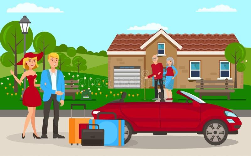 Family Visit Flat Cartoon Vector Illustration stock illustration