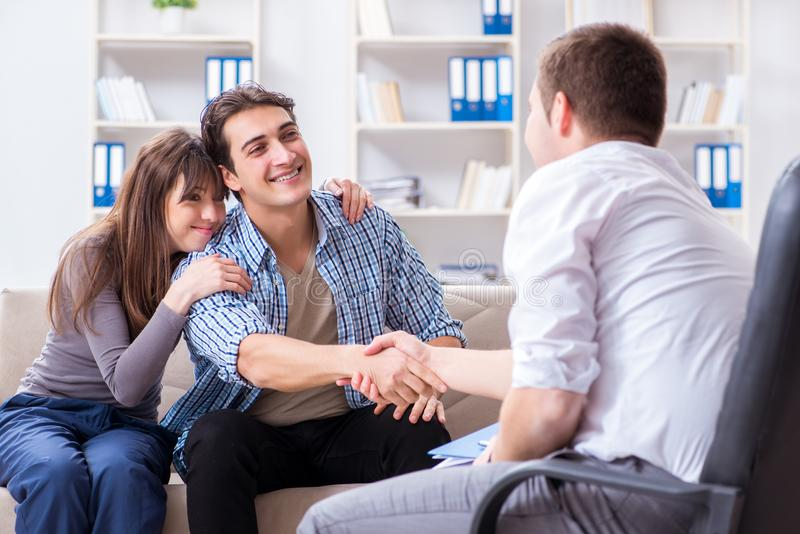 The family visiting psychologist for family problem stock image