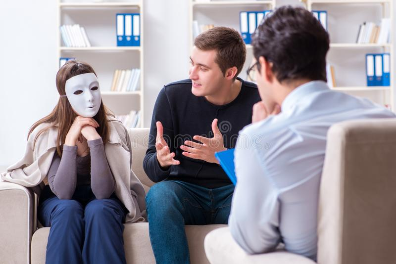 The family visiting psychologist for family problem. Family visiting psychologist for family problem royalty free stock image