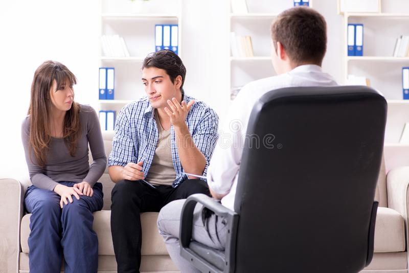 The family visiting psychologist for family problem. Family visiting psychologist for family problem royalty free stock images