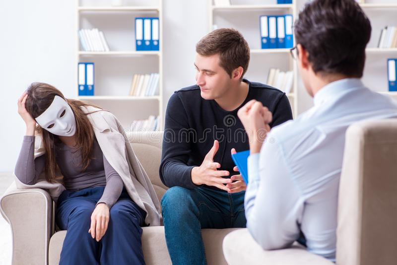 The family visiting psychologist for family problem. Family visiting psychologist for family problem royalty free stock photo