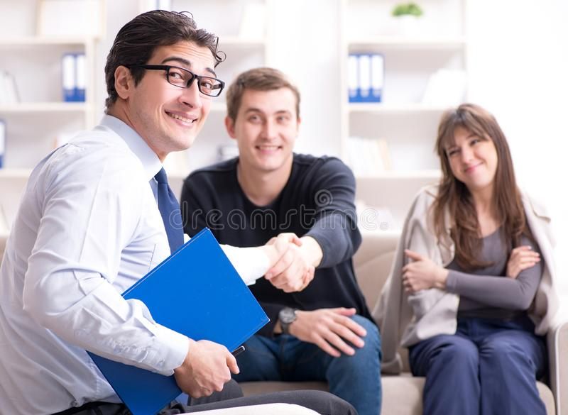 Family visiting psychologist for family problem. The family visiting psychologist for family problem stock photos