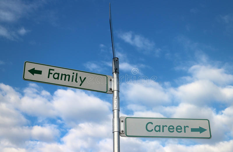 Family vs Career options. Family vs Career directions options on street sign stock image