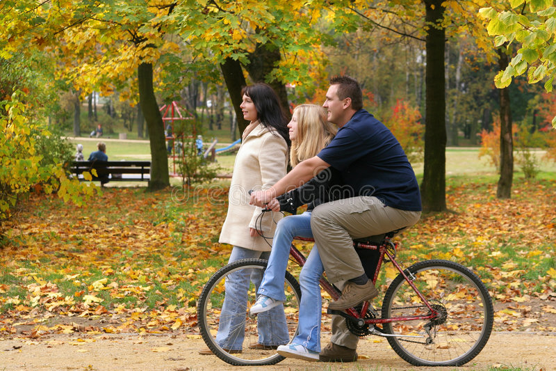 Download Family - Walk stock photo. Image of bike, fathers, going - 304078