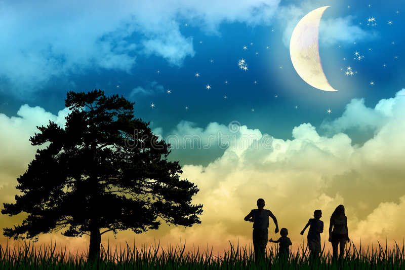 Family walk field with tree. Moon night royalty free stock images
