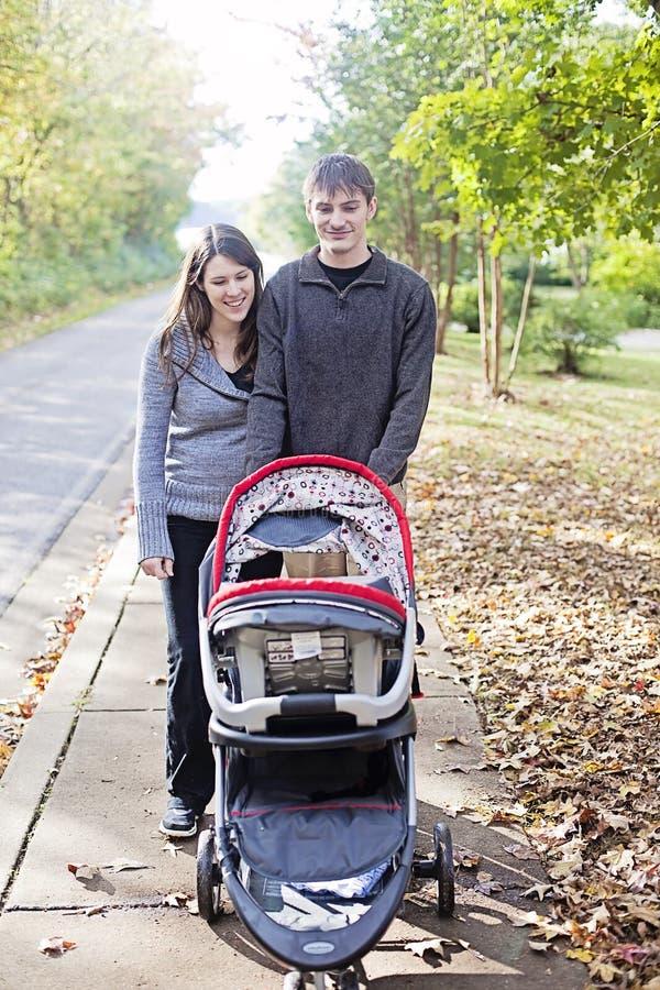 Family walk in neighborhood royalty free stock photos