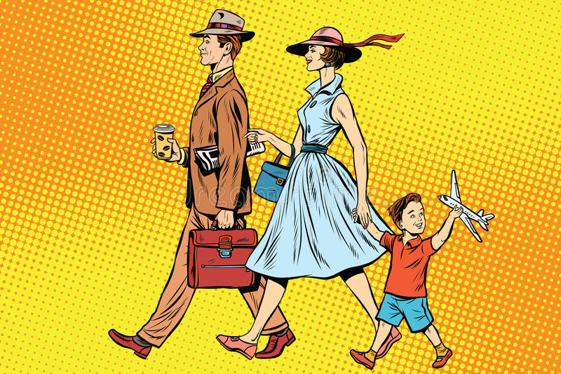 Family on a walk vector illustration
