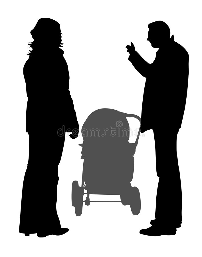 Family walk silhouette. Family with baby carriage vector illustration stock illustration