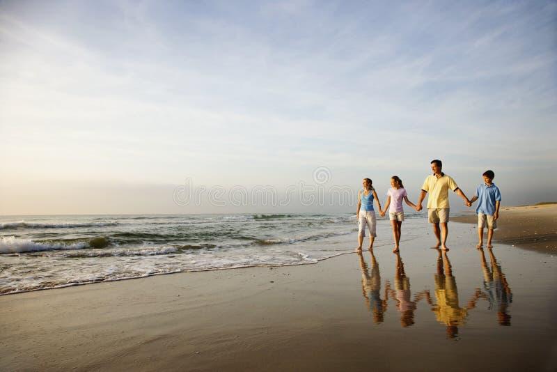 Family Walking on Beach royalty free stock image