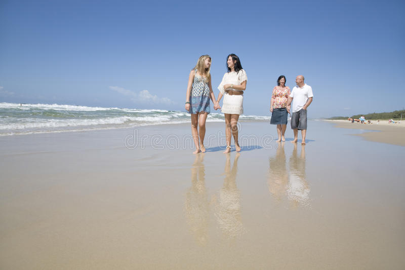 Download Family Walking On Beach Holding Hands Stock Image - Image: 12319989