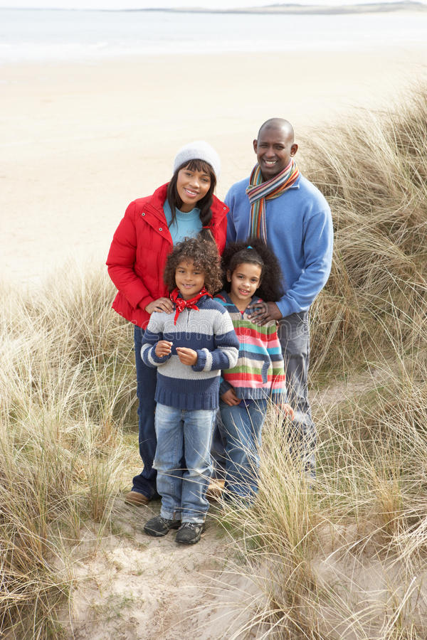 Download Family Walking In Dunes On Winter Beach Royalty Free Stock Photos - Image: 16145308