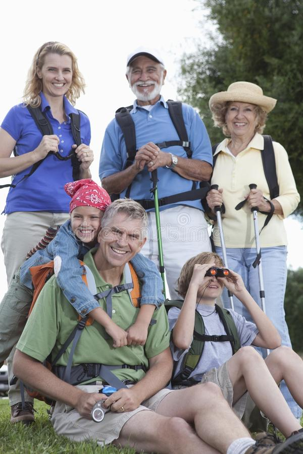 Family With Walking Equipment stock photography