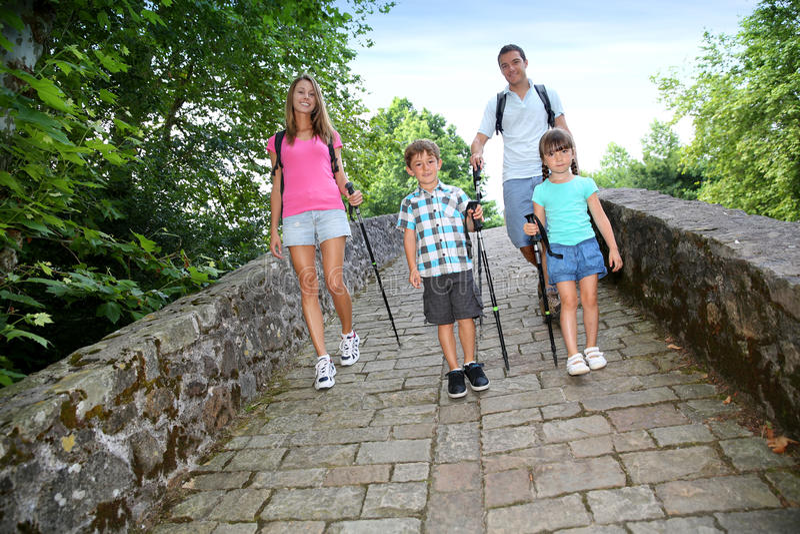 Family on walking journey stock images