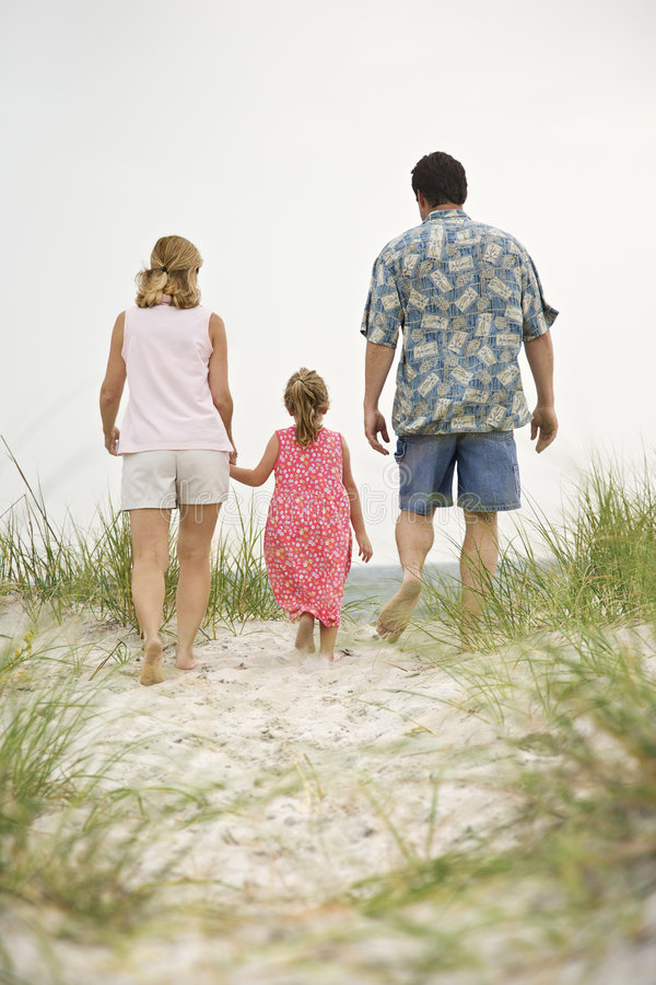 Family walking to beach stock photos
