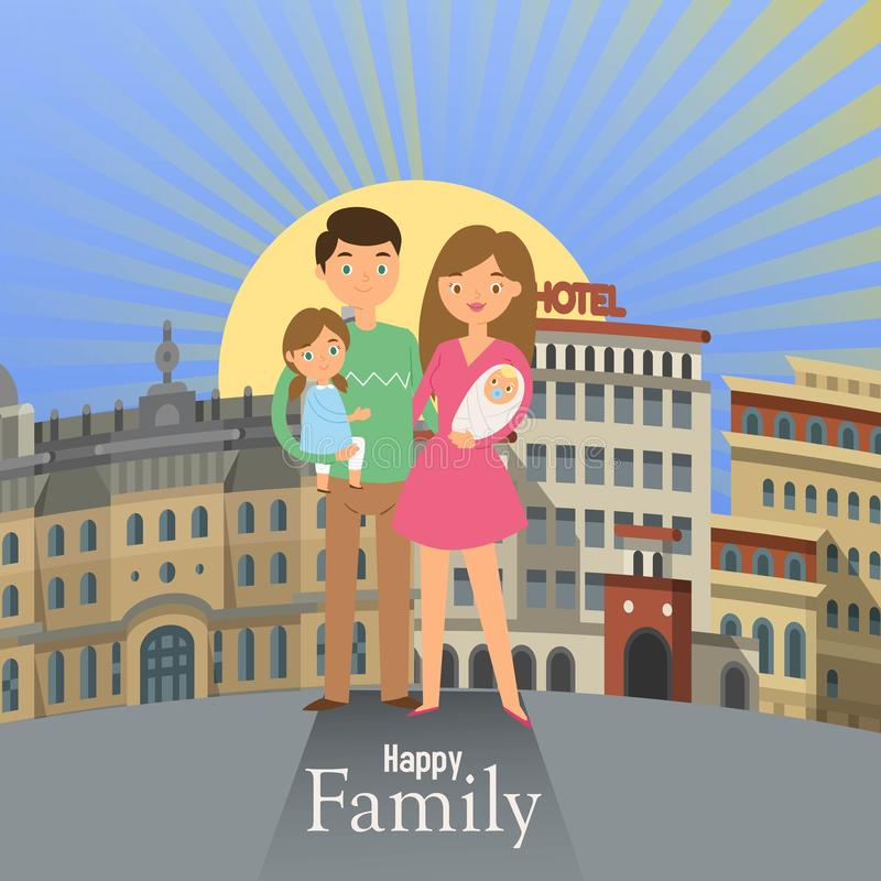 Family walks around the city banner. Father, mother, son and daughter together outdoors on town background vector. Family walks around the city banner. Father royalty free illustration
