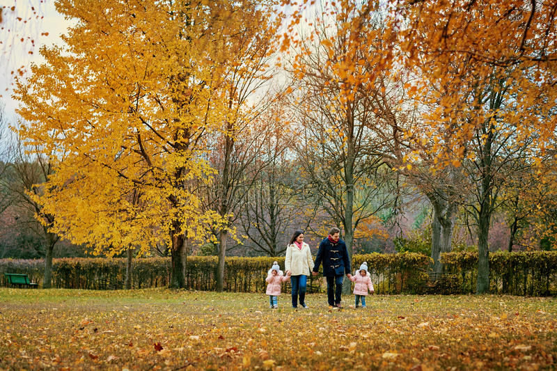 Family walks in the park in autumn. Parents with children are walking in nature in October stock images