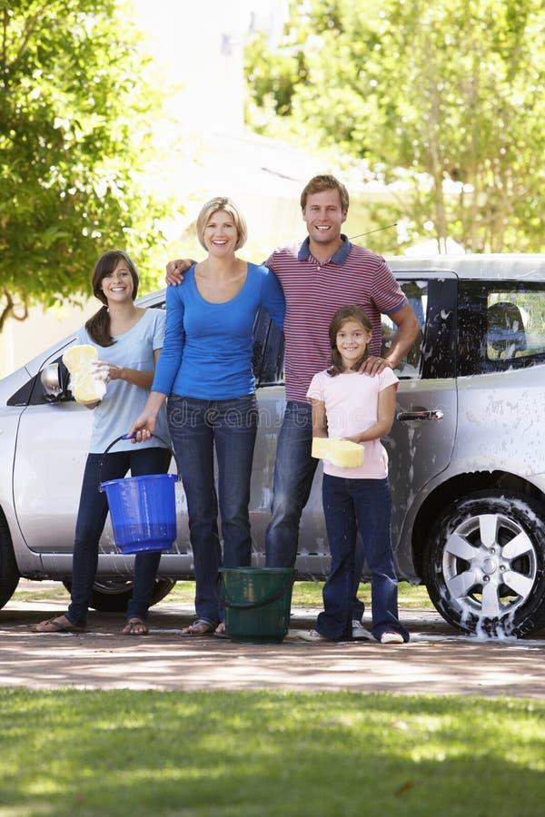 Family Washing Car Together stock image