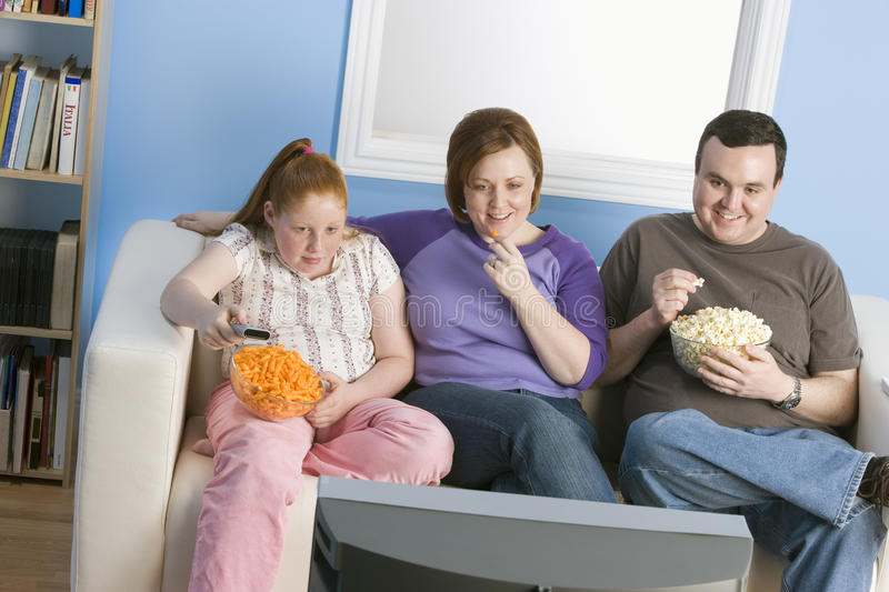 Family Watching Television royalty free stock photography