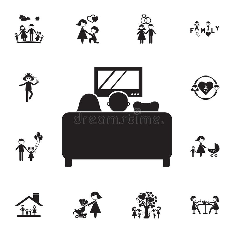 family watching TV on the couch icon. Detailed set of Family icons. Premium quality graphic design sign. One of the collection ico vector illustration
