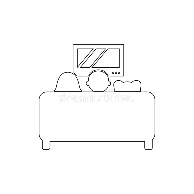 family watching TV on the couch icon. Element of cyber security for mobile concept and web apps icon. Thin line icon for website stock illustration