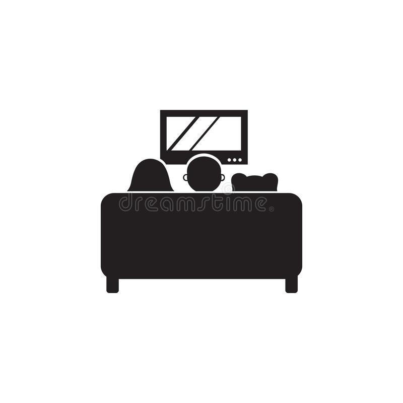 family watching TV on the couch icon. Illustration of family values icon. Premium quality graphic design. Signs and symbols icon f stock illustration