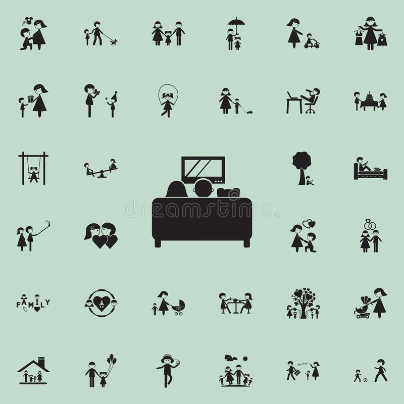 family watching TV on the couchicon. Family icons universal set for web and mobile stock illustration